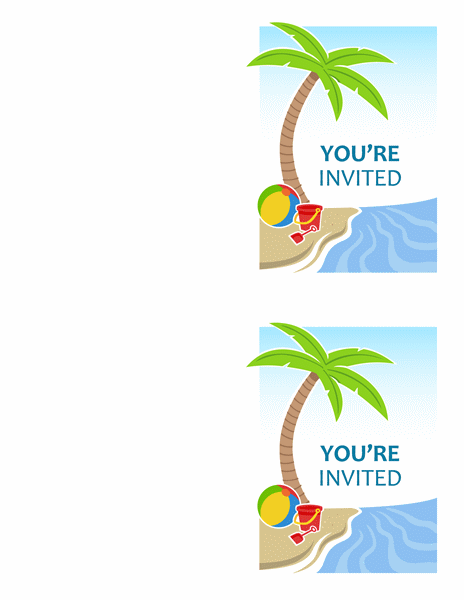 Summer party invitations (2 per page, for Avery 5315 and similar)