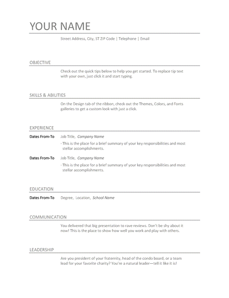 Templates for Word – Word Template Resume
