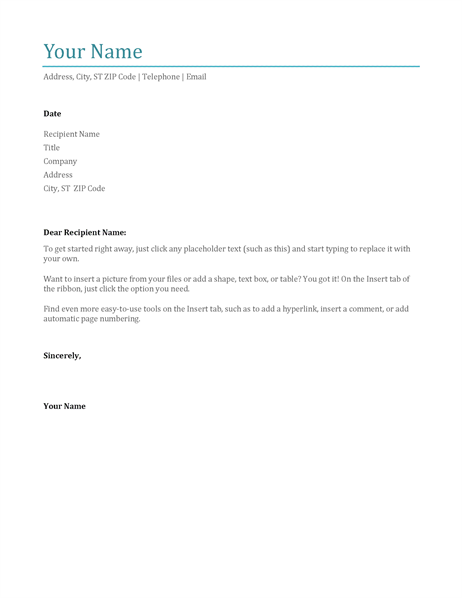 Cover Letter (blue)  Basic Reference Letter