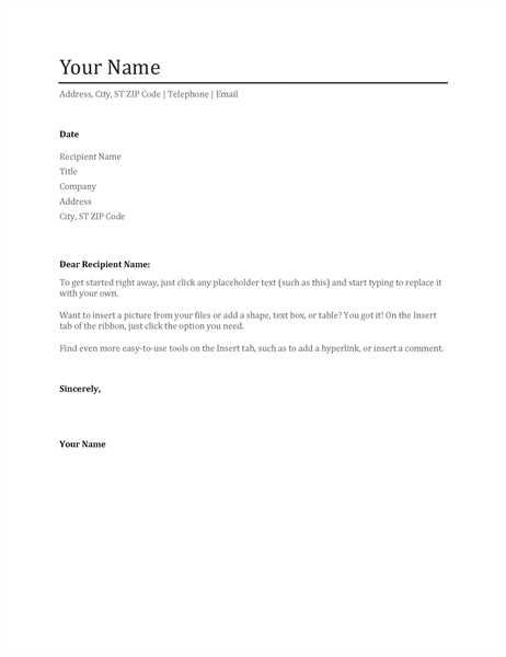 Templates for cover letter