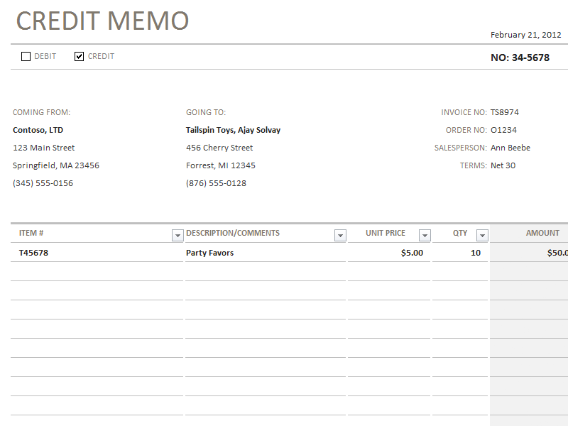 credit/debit memo - office templates, Invoice templates