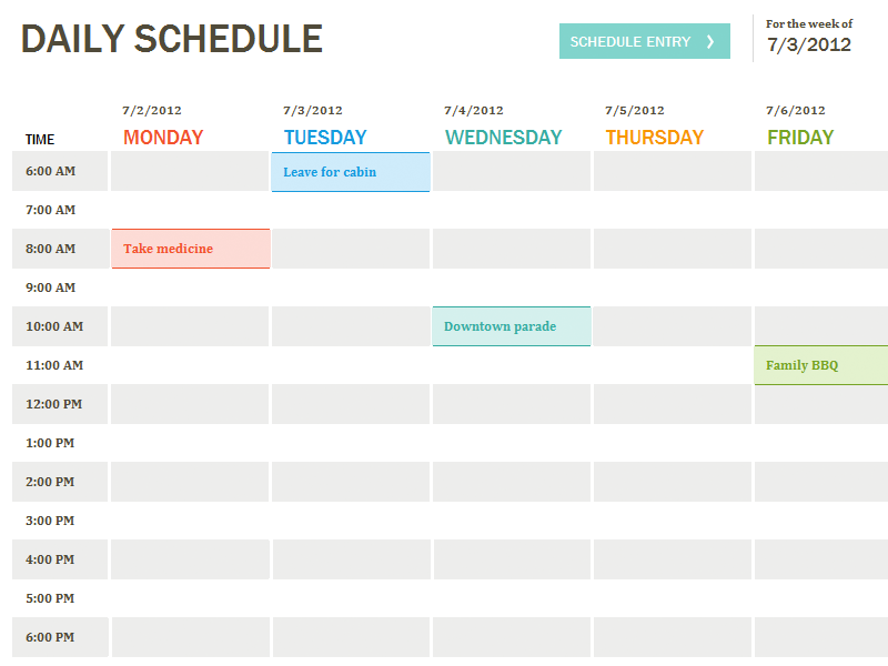 Daily schedule - Office Templates