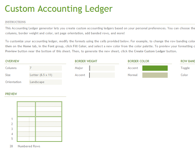 Account ledger generator