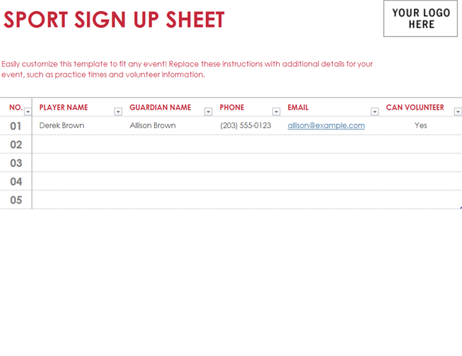 Sport Sign Up Sheet  Email Signup Template