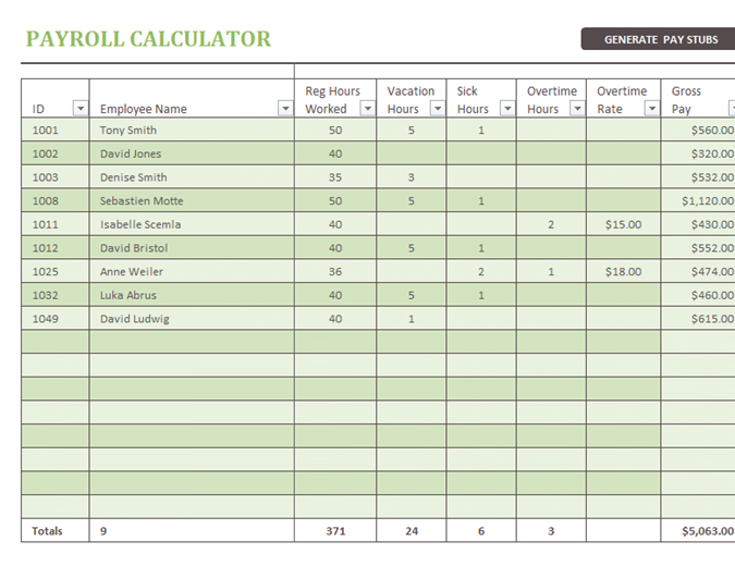 Excel Payroll Template Free Intended For Payroll Template Free