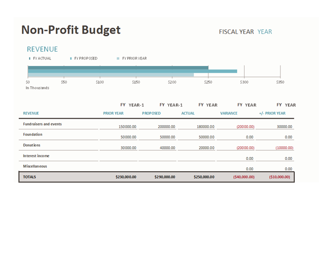 Non-profit budget w/fundraising - Office Templates