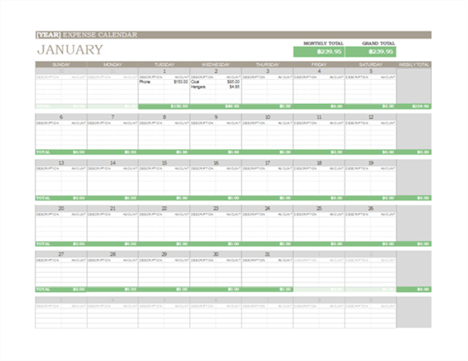 Any year expense calendar - Office Templates