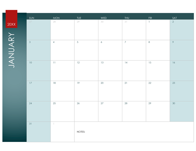 Any Year Calendar (Ion Theme)  Office Template Calendar