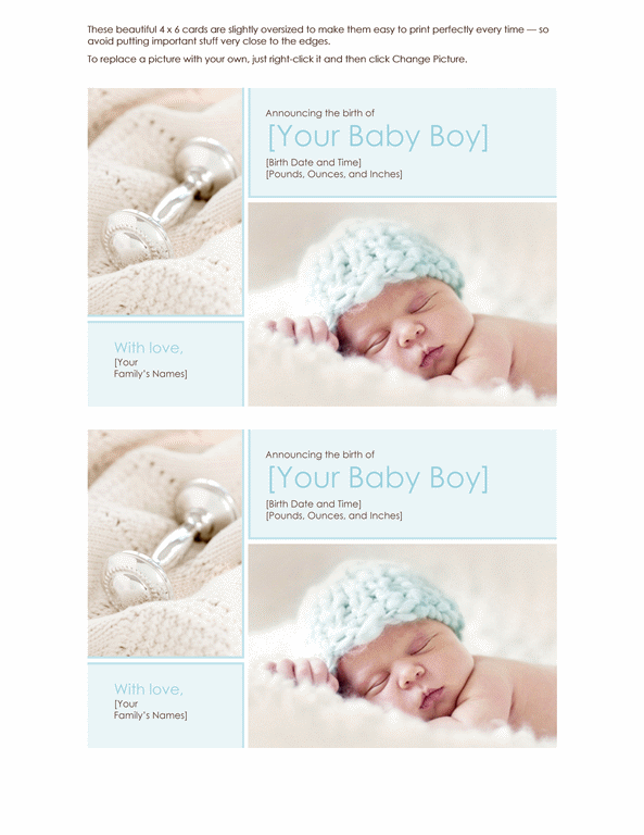 Birth announcement boy Office Templates – Baby Boy Birth Announcements Templates