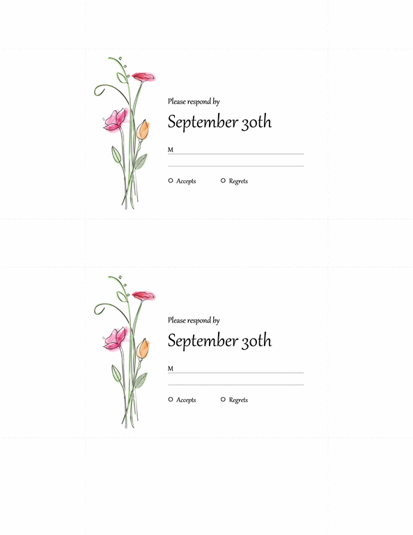 Wedding RSVP Cards (2 Per Page)  Microsoft Word Birthday Invitation Templates