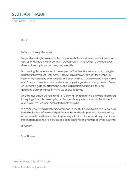 Reference Letter from Teacher Office Templates – Reference Letter