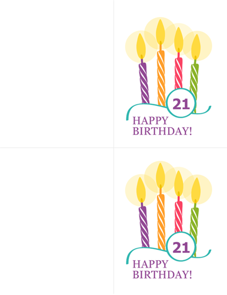 Milestone birthday cards (2 per page, for Avery 8315)