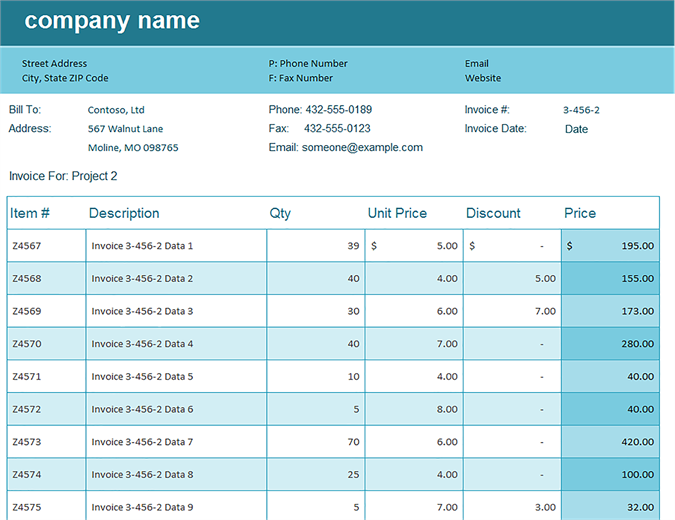 sale or return invoice template