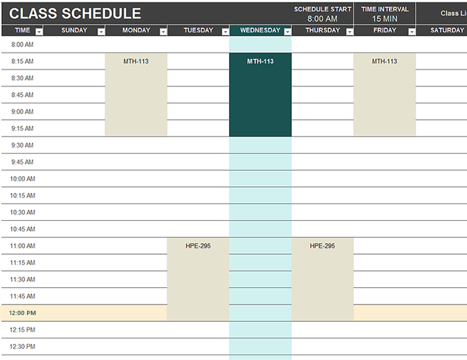 daily schedule chart template