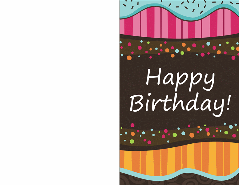 Birthday card - dots and stripes (kids, half-fold) - Office Templates
