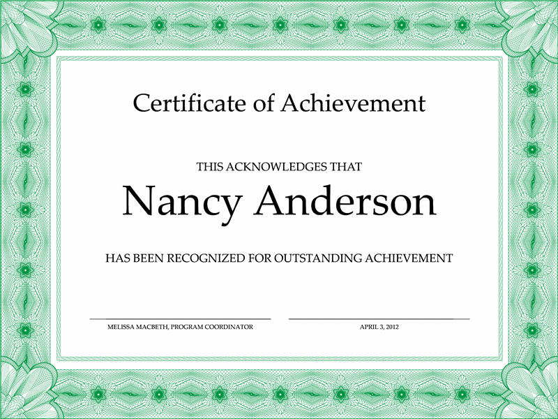 Certificates Office – Certificate Templates Word