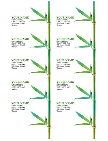 business cards  bamboo  10 per page  works with avery 5371