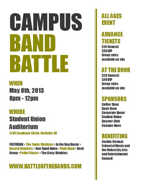 Academic event flyer (olive and black design)