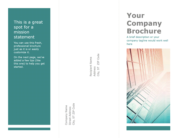 Tri Fold Brochure (blue)  Microsoft Word Template Flyer
