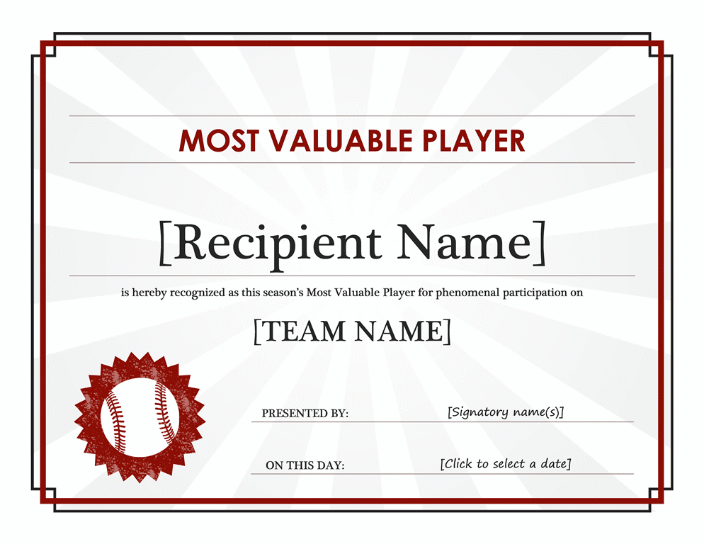 Most Valuable Player award certificate (editable title)
