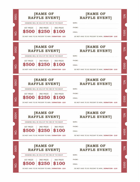 Raffle tickets for Numbered event ticket template free
