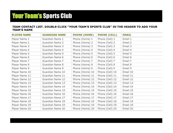 Contact list for youth sports Office Templates – Contact List Templates
