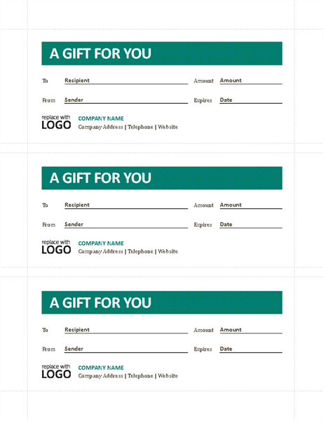 Gift certificates - Office Templates