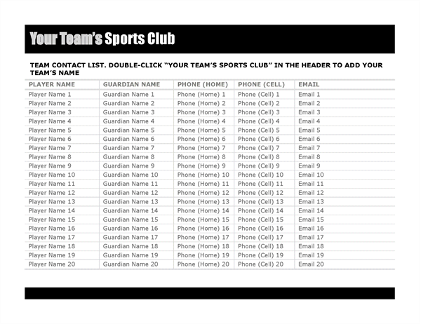 Contact list for sports team - Office Templates