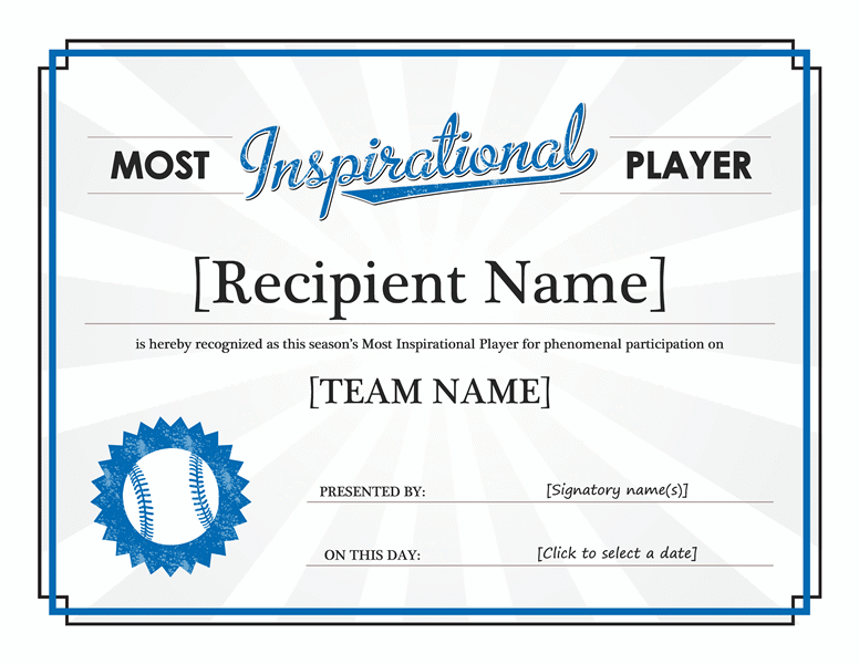 Most Inspirational Player award certificate