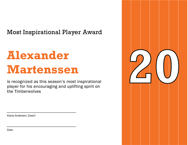 Most Inspirational Player Award Certificate (editable Title)  Certificate Of Participation Template