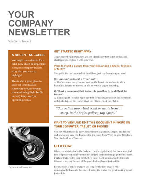 Company Newsletter - One page newsletter template publisher
