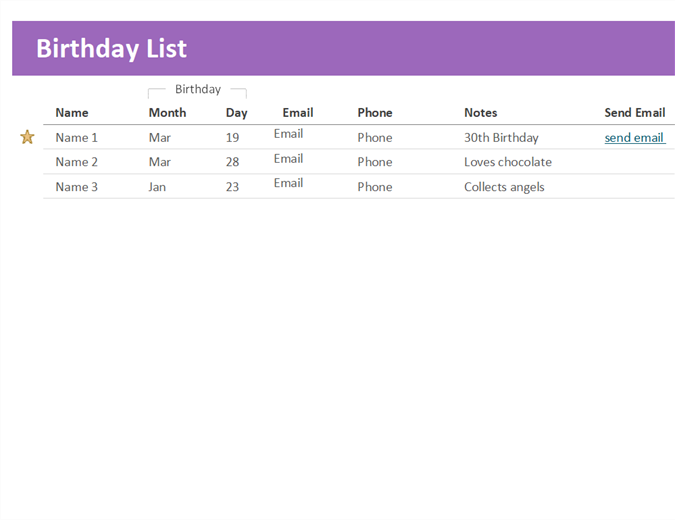 Birthday list - Office Templates