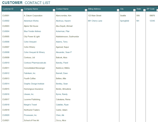 Contact list Office Templates – Contact List Templates