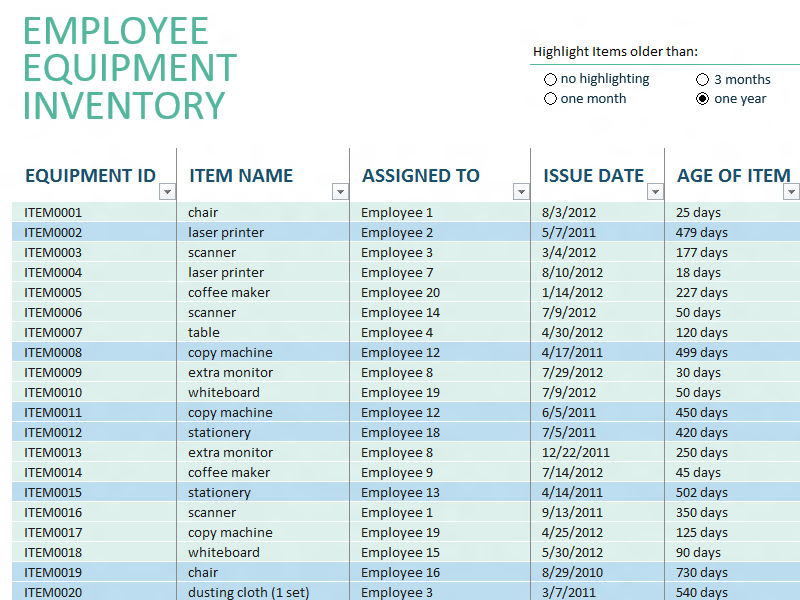 Inventory list with reorder highlighting - Office Templates