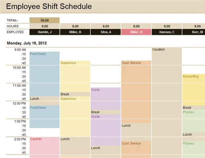 Employee shift schedule - Office Templates