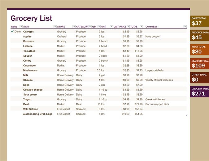 Grocery list (with category totals)