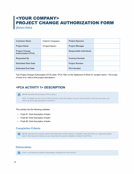 Project change authorization form (Business Blue design)
