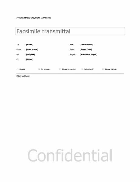 Basic Fax Cover  One Sheet Template Word