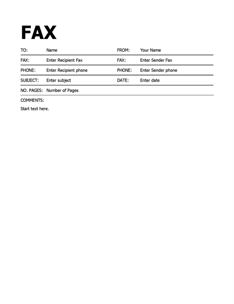 Superb Fax Cover Sheet Word · Bold Fax Cover Throughout Fax Template For Word