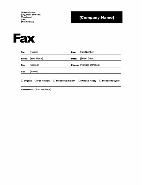 fax cover office templates