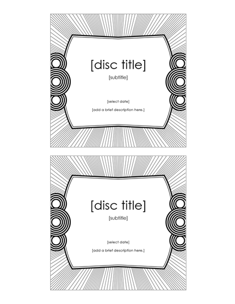CD case inserts (2 per page, works with Avery 5693)