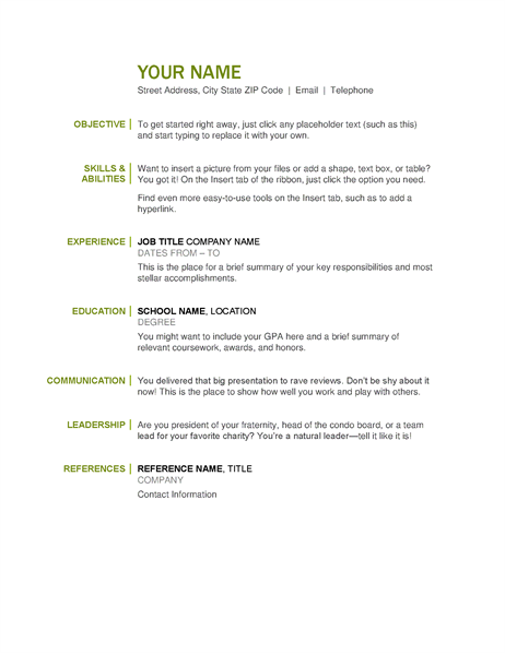 Basic Resume  Basic Resume Template Word