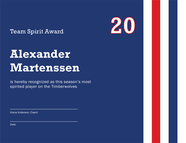 team award template