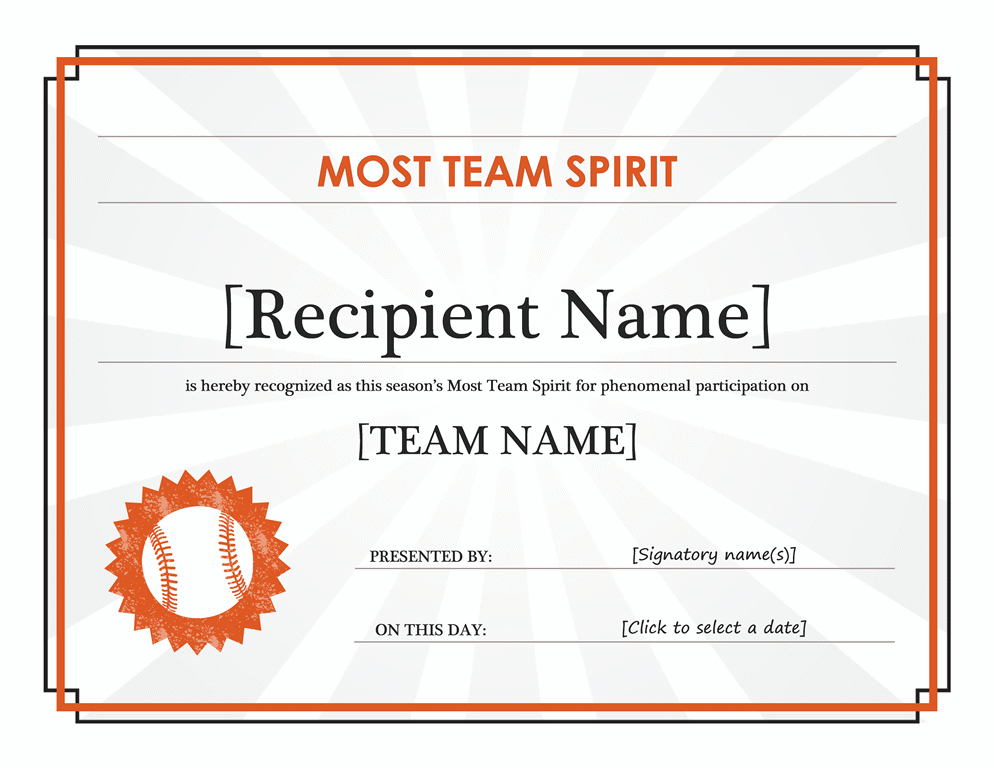 Team Spirit Award Certificate (editable Title)  Printable Certificate Of Participation