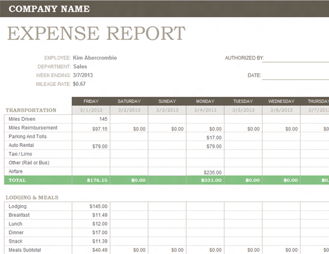 Weekly expense report Office Templates – Business Expenses Template