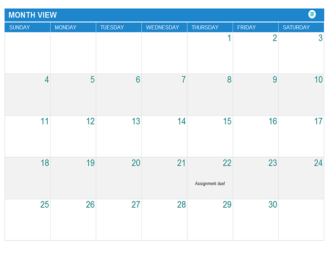 Marvelous Student Assignment Planner  Office Template Calendar