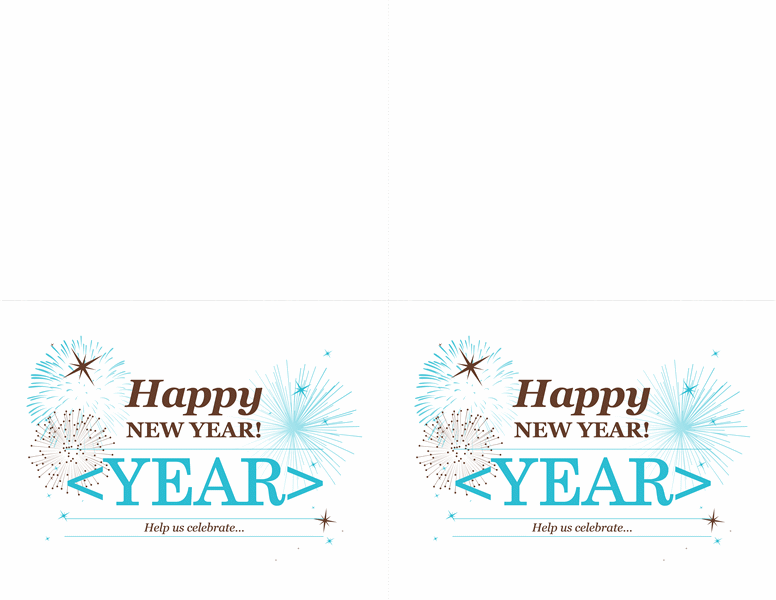 New Year's party invitations (2 per page)