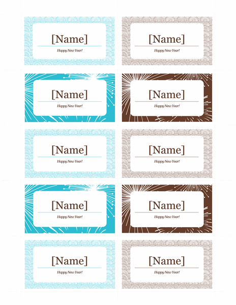 New Year's party place cards (10 per page)