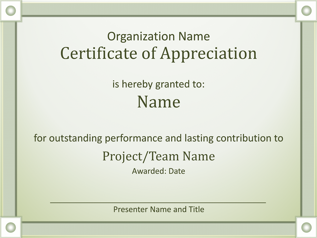 Certificate Of Appreciation  Certification Of Completion Template
