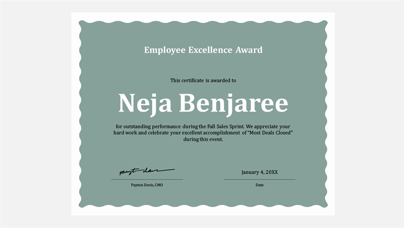 Nice Certificate Of Employee Excellence